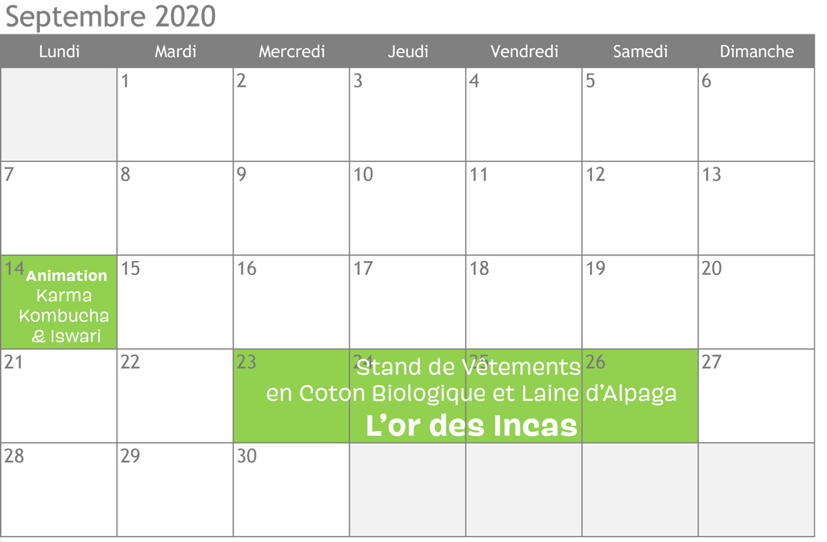 Calendrier des animations de septembre 2020